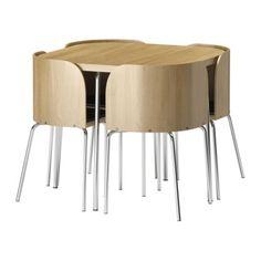 Perfect KRYDDAD Bolsa P Accesorios Fibras De Platanera FUSION Table And 4 Chairs  Oak Veneer Chrome Plated