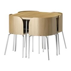 FUSION Table and 4 chairs - oak veneer/chrome-plated - IKEA