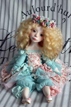 Купить Amy / Эми - бирюзовый, мятный, розовый, кукла ручной работы, кукла
