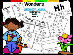 This 69 page Kindergarten Wonders Unit 5 BUNDLE is the BIGGEST YET! This highly INTERACTIVE journal is ideal for teaching all of this week's skills in a powerful, student-friendly way!Complete Set Includes:Mini Anchor Chart/Activities for Phonics, Comprehension, and Genre Cut and Paste Sound Correspondence AnchorHandwriting PracticeCut and Paste Word BuildingCut and Paste Sentence BuildingFoldablesGraphic OrganizersWord SearchBuild It!