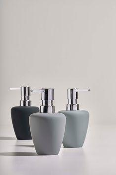 Soft: soft shapes and surfaces // Bathroom Soap Dispenser, Crackle Glass, Bathroom Accessories, Industrial Design, Black And Grey, Shapes, Ceramics, Bath Room, Bathroom Inspiration