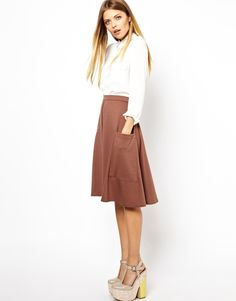 loving the midi skirt and that this is kind of high/low inspired  ASOS Midi Skirt with Pocket Detail