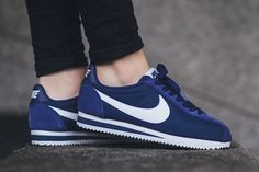 The women's Nike Cortez is rendered in vibrant Loyal Blue for its latest colorway this season. Find it now from Nike stores overseas.