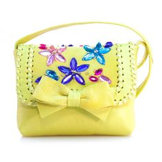 Yellow Mini Leather Shoulder Bag with Crystals and Bow  #vibys #babystyle #babyfashion #babyhandbag #handmadehandbag #toddlerhandbag
