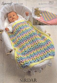 Sirdar 1611 baby pram blanket vintage crochet by Ellisadine, £1.20