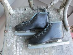 Vintage Ice Skates Black Childs Double Blades by LuRuUniques on Etsy