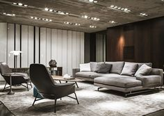 Living gray corner concrete ceiling lighting modern armchair leather upholstery