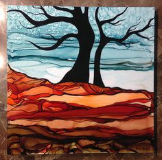 Winter Tree - Mixed Media - Original Art - Alcohol Inks on Chromaluxe Panel - by Monica Moody