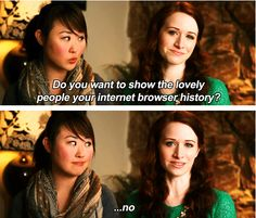 """Do you want to show the lovely people your internet browser history?"" I love Charlotte and Lizzie's friendship. (The Lizzie Bennet Diaries)"
