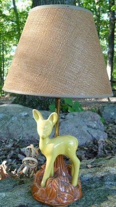 Vintage Baby Deer LAMP, fawn, mori girl, yellow, nursery decor, light, decoration, forest. $69.00, via Etsy.
