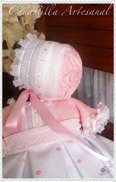 The name of this skirt is in honor of the baby for whom it was created, Naiara. Baby Hats Knitting, Baby Knitting Patterns, Baby Patterns, Kind Photo, Baby Bonnets, Linens And Lace, Christening Gowns, Heirloom Sewing, Little Girl Dresses