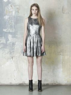 Muubaa Ceylon Leather Skater Dress in Antique Silver