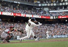 San Francisco Giants' Pablo Sandoval singles against the Arizona Diamondbacks during the fourth inning of a baseball game Saturday, July 20, 2013, in San Francisco