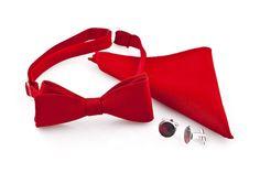 Wyjątkowy komplet w czerwonej tonacji: mucha męska, poszetka oraz spinki do mankietów.  Do kupienia w sklepie internetowym Madame Allure!  #mucha #ślub #wesele