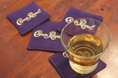 Set of 4 Fabric Crown Royal Coasters