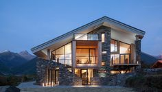 Amazing-modern-rustic-house-with-stone-facade-and-skillion-roof-decoration.jpg (1584×900)