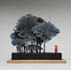 John Morris - Little Red Riding Hood, Timber, Fibreboard, paint, 12 x x Origami, Wood Crafts, Diy And Crafts, Paper Crafts, Instalation Art, Displays, Painted Boxes, Craft Box, Red Riding Hood