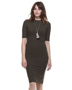 AMIE Finery Boutique Midi Dress With Stylish Texture For Everday Wear Small Olive >>> More info @