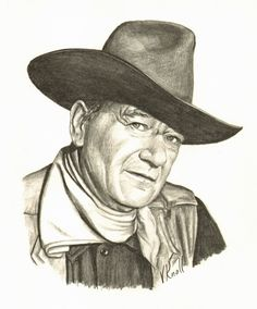 Vicki Knoll hand drew this graphite pencil portrait of John Wayne. Pencil Portrait Drawing, Realistic Pencil Drawings, Pencil Drawing Tutorials, Caricature Drawing, Love Drawings, Pencil Art, Cartoon Drawings, Drawing Ideas, John Wayne