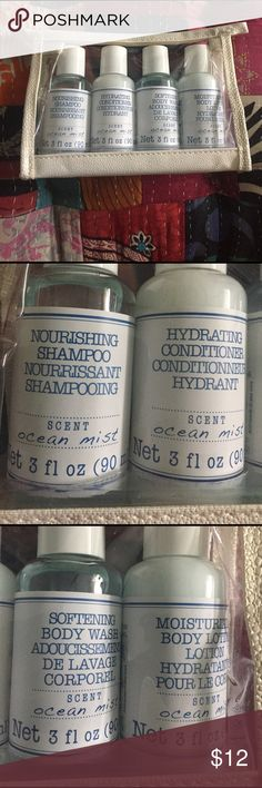 """NEW shower kits never opened or used, zipper water proof pouch holds four 3 fl oz. (90ml) bottles with the scent """"Ocean Mist"""".                          -Shampoo -Conditioner  -Body Wash -Body Lotion  Bundle 3 or more and save 20% All items ship with a FREE gift PINK Victoria's Secret Other"""