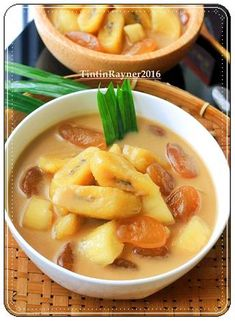 Kolak - is an Indonesian dessert based on palm sugar or coconut sugar, coconut milk, and pandanus leaf Other variations may add ingredients such as bananas, pumpkins, sweet potatoes, jackfruit, plantains, cassava, and tapioca pearls. It is usually served warm or at room temperature. In Indonesia, kolak is a popular iftar dish during the holy month of Ramadhan.