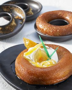 Baba au rhum, a yeast cake soaked in rum - recipe from Simply Gourmand http://www.simplygourmand.com/pages.php?pageid=32