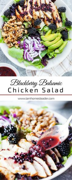 BLACKBERRY BALSAMIC CHICKEN SALAD | Craving for healthy and easy chicken salad recipe? You gotta try this Blackberry Balsamic Chicken Salad. This salad is full of fresh and juicy blackberries and drizzled over with a blackberry dressing. Check us out @iamhomesteader for more healthy homemade cooking and easy homesteading recipes you can do at home.  #Homestead #homesteading | Quick and Easy Dinner Recipe for the Family | Easy Homemade Food Recipes for Dinner