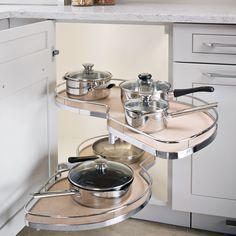 Hafele America Co. - Hafele LeMans II 45 - Corner Pullout Set - Right Hand Swing (Chrome/Maple) - The Hardware Hut Blind Corner Cabinet, Corner Sink, Kitchen Corner, Kitchen Pantry, Diy Kitchen, Kitchen And Bath, Kitchen Design, Kitchen Decor, Corner Cabinets