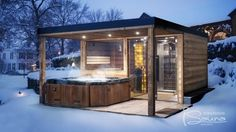 Outdoor sauna building design, outdoor sauna production. Combined sauna house with canopy, jacuzzi, shower.