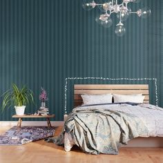 Striped Wallpaper, Green Wallpaper, Peel And Stick Wallpaper, Pattern Wallpaper, Color Of The Year, Fabric Panels, Green Stripes, Teal Blue, Blue Green