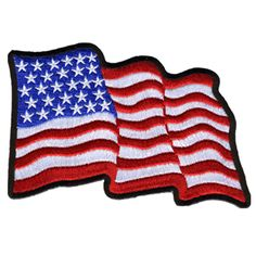 A x embroidered patch of the United States American flag waving in the wind with heat-sealed backing for easy iron-on application. All patches are designed in the USA and feature original Hot Leathers artwork you will not find anywhere else. American Flag Patch, American Flag Stars, Motorcycle Patches, Biker Patches, Motorcycle Gear, Velcro Patches, Flag Patches, Us Flags, Biker Girl