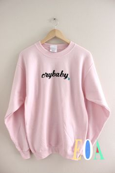Crybaby Pastel Pink Graphic Crewneck Sweatshirt
