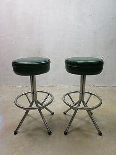 Vintage retro barkrukken kruk, sixties bar stools Mid century design