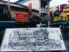 Great morning sketch at Jalan Sultan, Petaling Street, KL with fellow KL Urban Sketchers! 😊❤✒🎨 #usk #klusk #urbansketchers #kualalumpururbansketchers #jalansultan #petalingstreet #greyscale #sailorfude #platinumcarbonink #countdowncny #KAMIART #kamipanoramasketchbook #practicedaily #sketchdaily