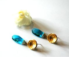 Round Circle Vermeil Gold Post Earrings with Dangling Blue London Topaz  Gemstones