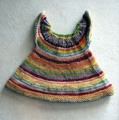 Ravelry: Stripey Doll Dress pattern by Deborah Minner Knitting Dolls Clothes, Baby Doll Clothes, Crochet Doll Clothes, Knitted Dolls, Crochet Dolls, Baby Dolls, Knitting Patterns Free, Free Knitting, Baby Knitting