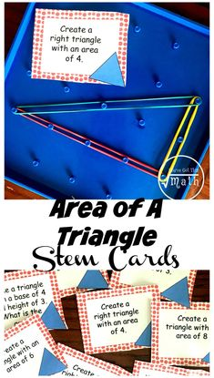 Need some Area of Triangles Practice? These fun STEM cards are a great way for children to practice finding the area of triangles as well as creating triangles with a given area. Perfect to expound on Classical Conversation Math Memory Work too. Math Activities For Kids, Fun Math, Math Resources, Counting Activities, Homeschooling Resources, Right Triangle, 5th Grade Math, Sixth Grade, Third Grade