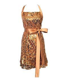 Look at this #zulilyfind! Gold Glamour Girl Sequin Apron #zulilyfinds