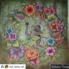 So cute! #Repost @nat_tame_art with @repostapp #selvamagica Finished my little monkey! #magicaljungle #johannabasford #marcorenoir #desenhoscolorir #secretgarden