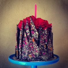 Birthday Vegan Chocolate Raspberry Cake with Dark Chocolate Shards flecked with nuts and dried roses and calendula flowers