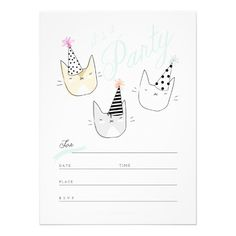 Party Cats Invitation | Birthday Party Collection |  www.RiveGaucheCraft.com