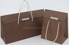 Brown craft triangle carrier bag, premium paper bag, special glossy paper bag, luxury paper bag, cotton strap handles