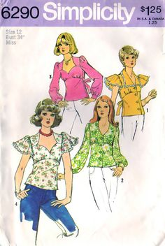 Blouse V-Neckline Vintage Sewing Pattern Simplicity 6290 Size Bust 34 Simplicity Sewing Patterns, Vintage Sewing Patterns, 70s Fashion, Vintage Fashion, Vintage Style, Girls Playsuit, Blouse Patterns, Clothes Patterns, Cute Pattern