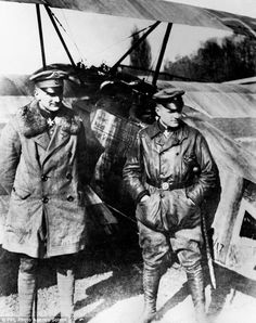 Rare photographs of legendary World War I German fighter ace The Red Baron flying his plane have been discovered at a car boot sale. Manfred von Richthofen (right) with his brother Lothar.