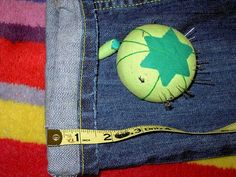 Hemming jeans while retaining original topstitching, very important when thread is hard to match.