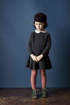 Love this look by www.caramel-shop.co.uk! Grey sweater + grey skirt + peter pan blouse + beret + oxfords