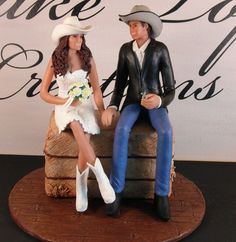 Western Wedding Cake Topper with couple in by CakeTopCreations, $295.00