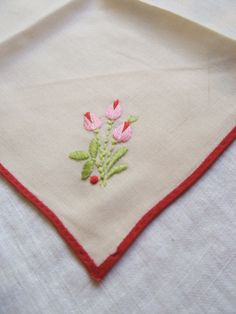 Vintage Napkin with embroidery rosebuds by lookonmytreasures on Etsy