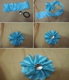 DIY Fabric Flower Hair Tie - #diy, #hair, #tie