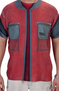 This Back To The Future shirt is designed to look like the jacket that Marty McFly wore in the year This shirt may not automatically adjust itself to your body's shape. It may not dry itself whe 80s Costume, T Shirt Costumes, Halloween Costumes, Bttf, Marty Mcfly, Back To The Future, Body Shapes, Cool Things To Buy, That Look